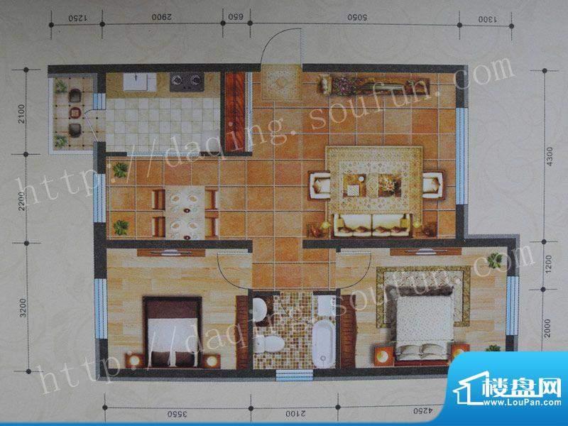 景程B1户型 2室2厅1面积:100.00m平米