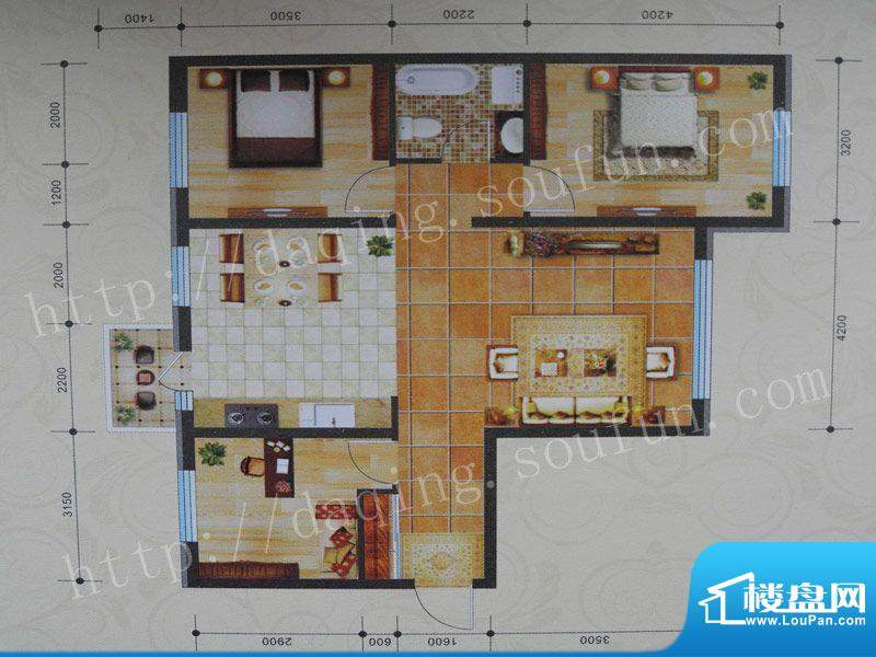 景程G3户型 3室2厅1面积:115.00m平米