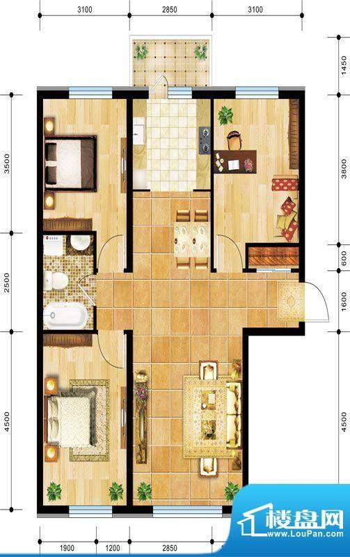 景程G1户型图 3室2厅面积:115.00m平米