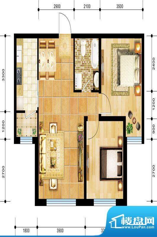景程G2户型图 2室2厅面积:89.00m平米