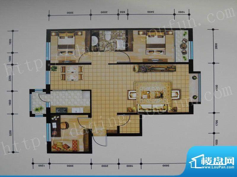 御湖湾H3户型 3室2厅面积:112.00m平米