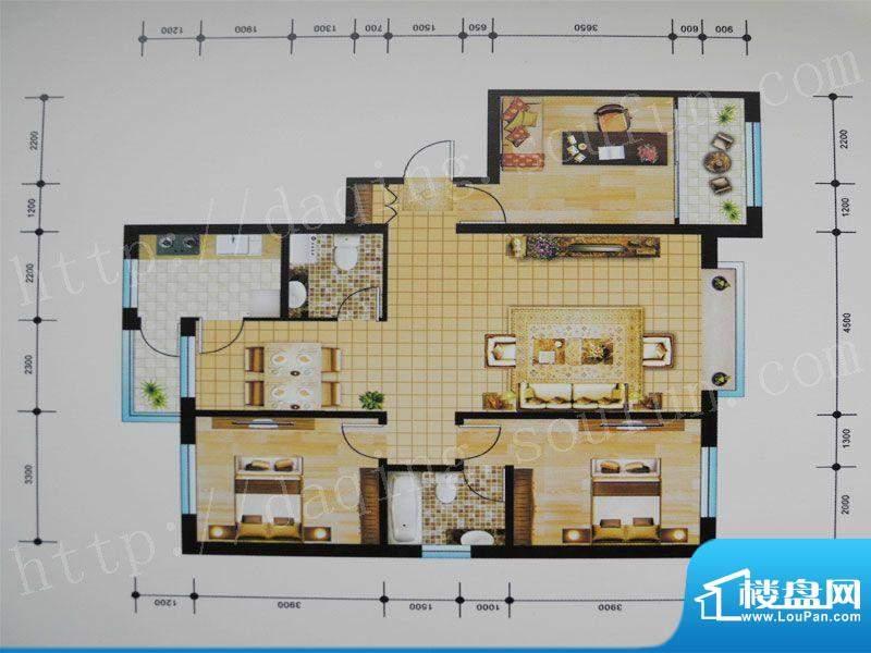 御湖湾B户型 3室2厅面积:136.00m平米