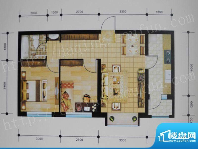 御湖湾G2户型 2室2厅面积:73.00m平米