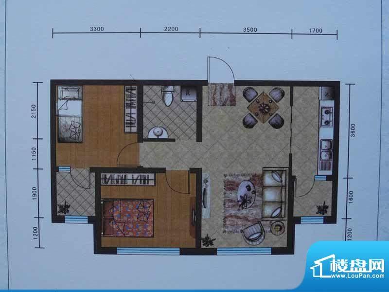 宜和园E户型 2室2厅面积:77.87m平米