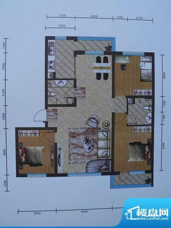 宜和园D户型 3室2厅面积:125.45m平米