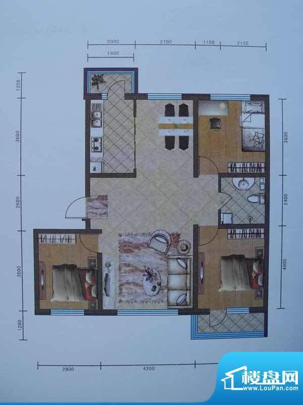 宜和园C户型 3室2厅面积:114.13m平米