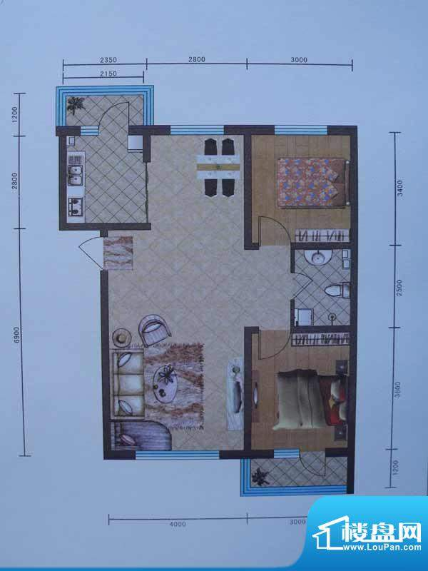 宜和园B户型 2室1厅面积:91.63m平米