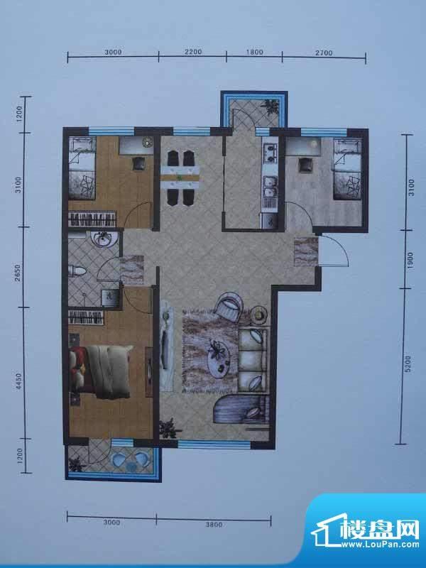 宜和园A户型 3室2厅面积:103.52m平米