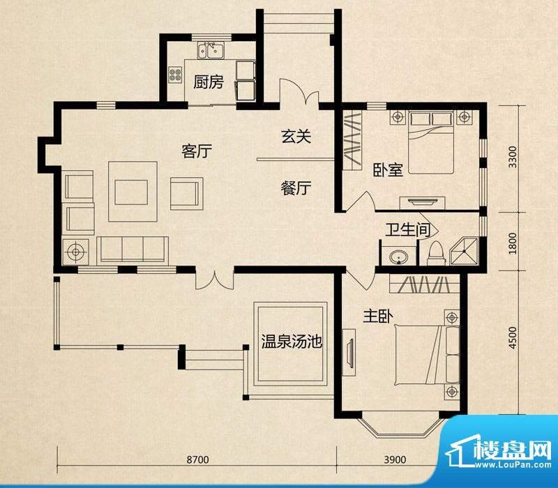 美芦庄园A1户型 2室面积:105.00m平米