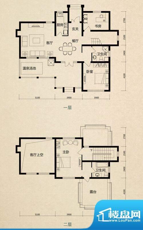 美芦庄园A2户型 3室面积:164.00m平米