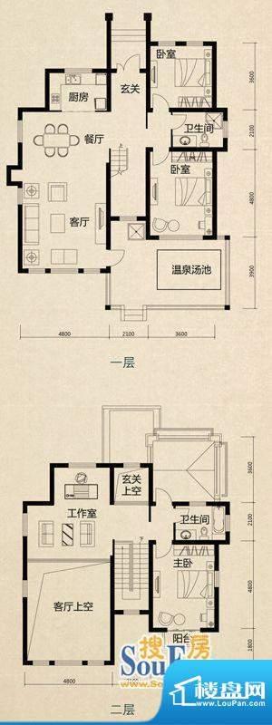 美芦庄园B1户型 3室面积:193.00m平米