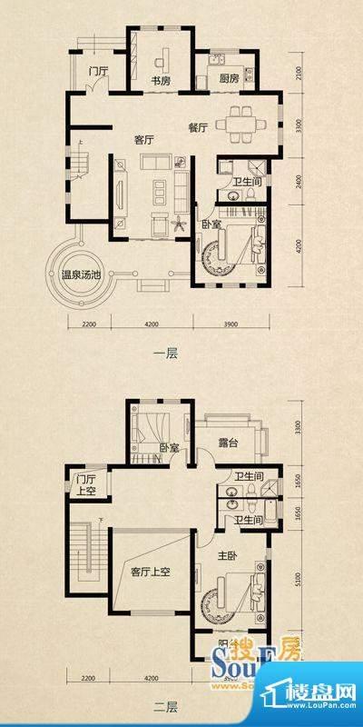 美芦庄园B2户型 3室面积:215.00m平米