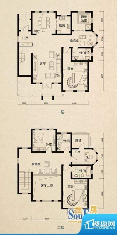 美芦庄园C1户型 4室面积:251.00m平米