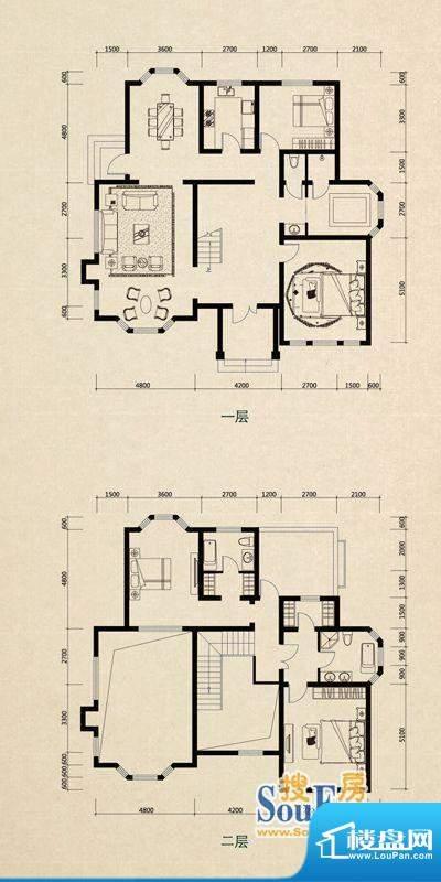 美芦庄园C2户型 4室面积:256.29m平米