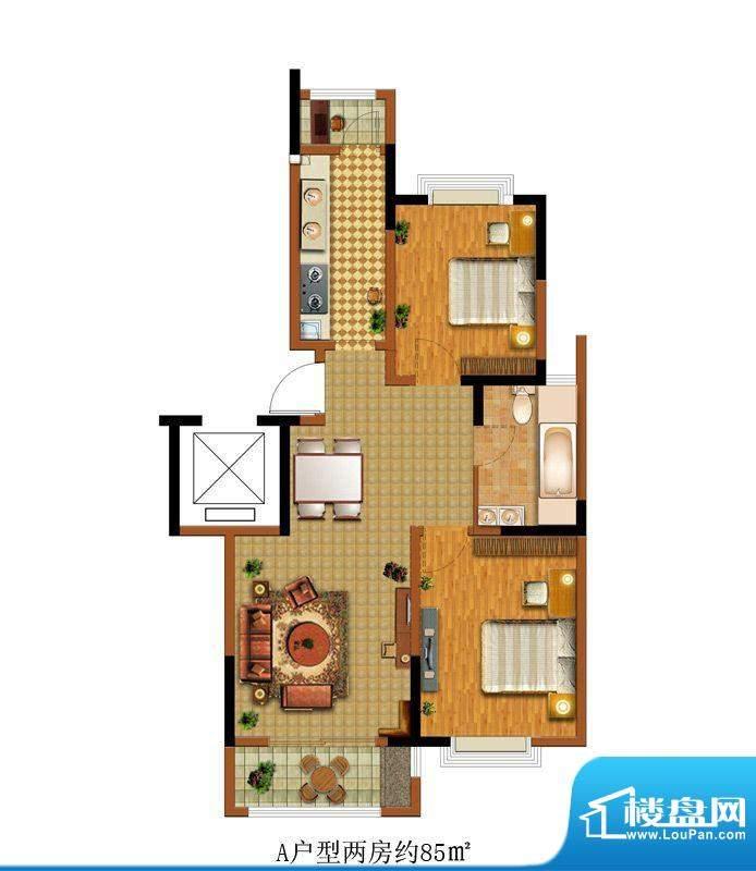 中惠卡丽兰A户型 2室面积:85.00m平米