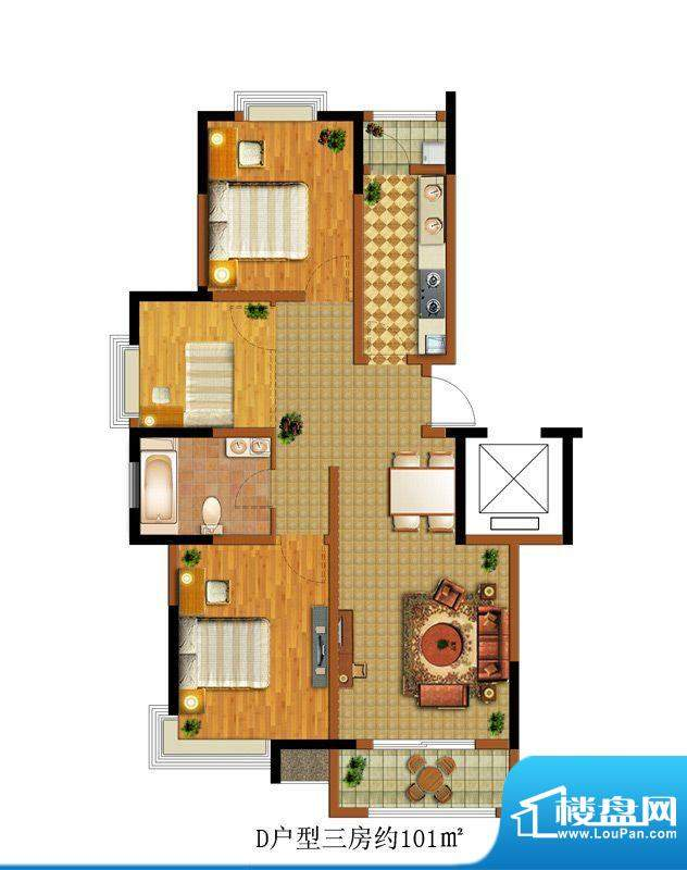中惠卡丽兰D户型 3室面积:101.00m平米