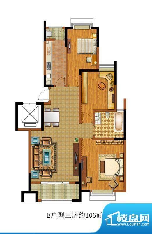 中惠卡丽兰E户型 3室面积:106.00m平米