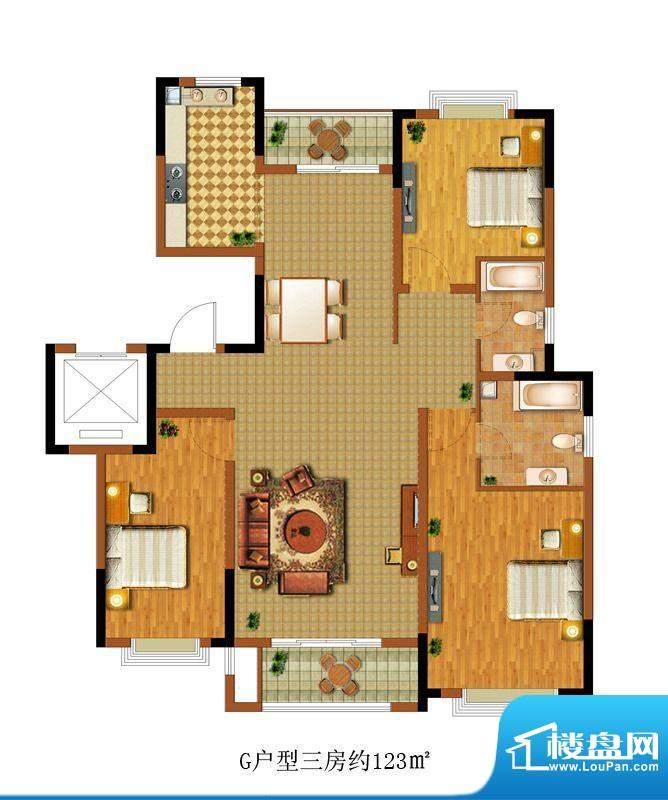 中惠卡丽兰G户型 3室面积:123.00m平米