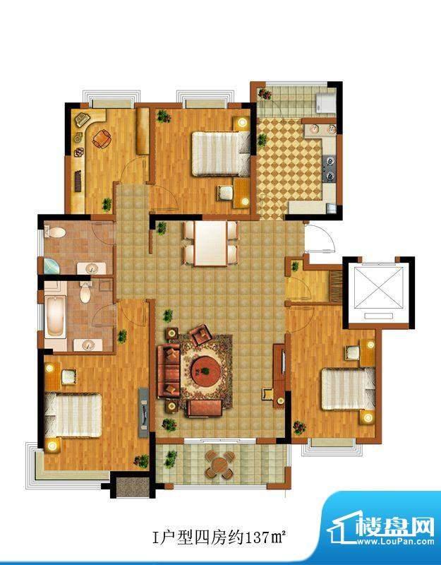 中惠卡丽兰I户型 4室面积:137.00m平米