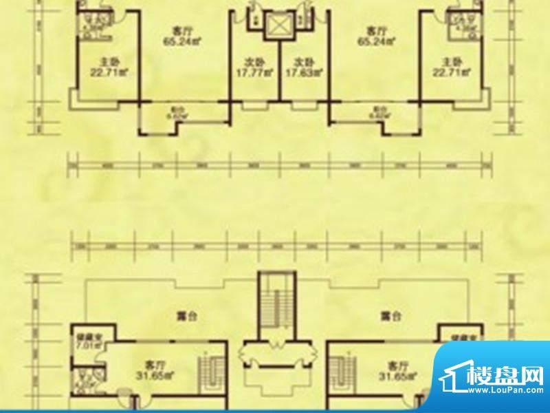 康和西岸户型图 2室面积:0.00m平米