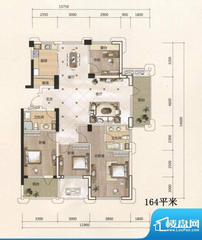 得力浅水湾F户型 4室面积:164.00m平米