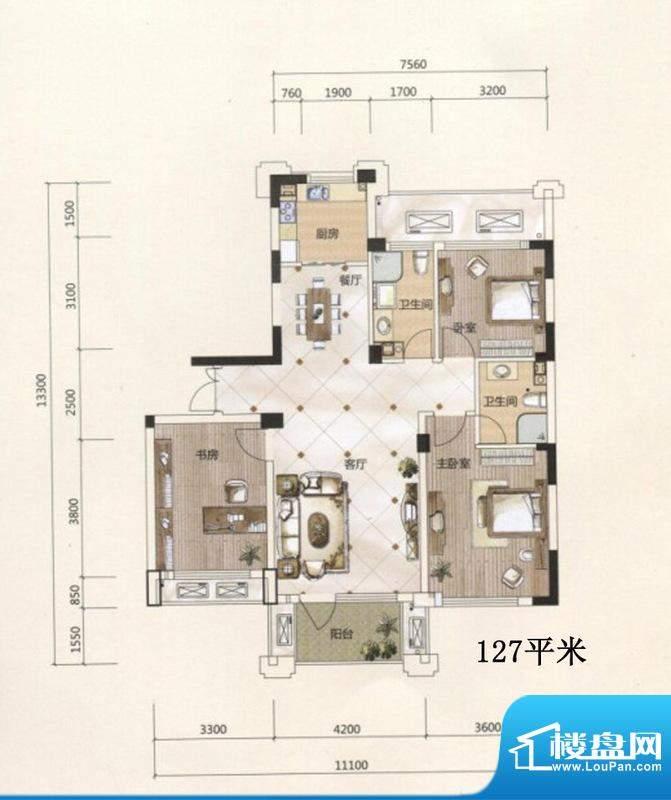 得力浅水湾B5户型 3面积:127.00m平米