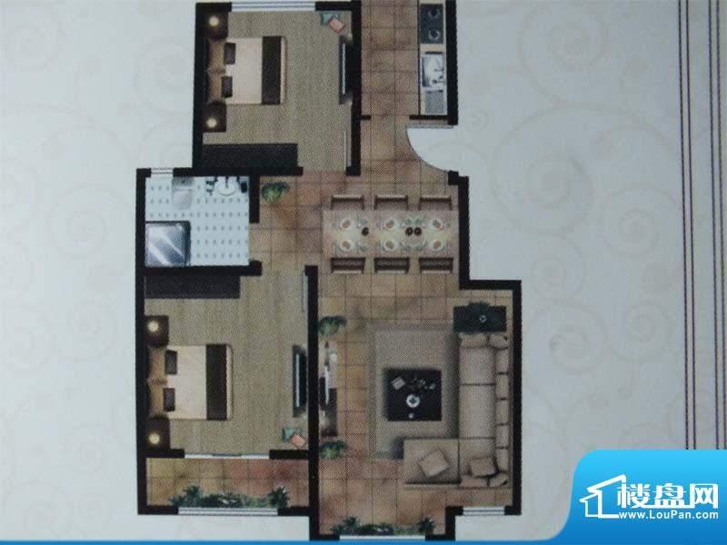 亿宸国际户型图1 2室面积:90.00m平米