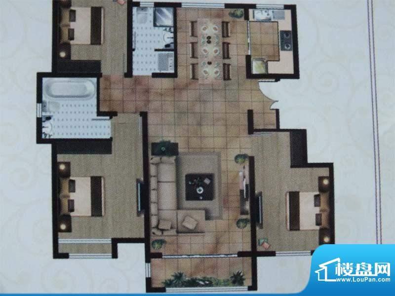亿宸国际户型图2 3室面积:130.00m平米
