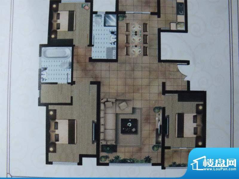 亿宸国际户型图3 3室面积:145.00m平米
