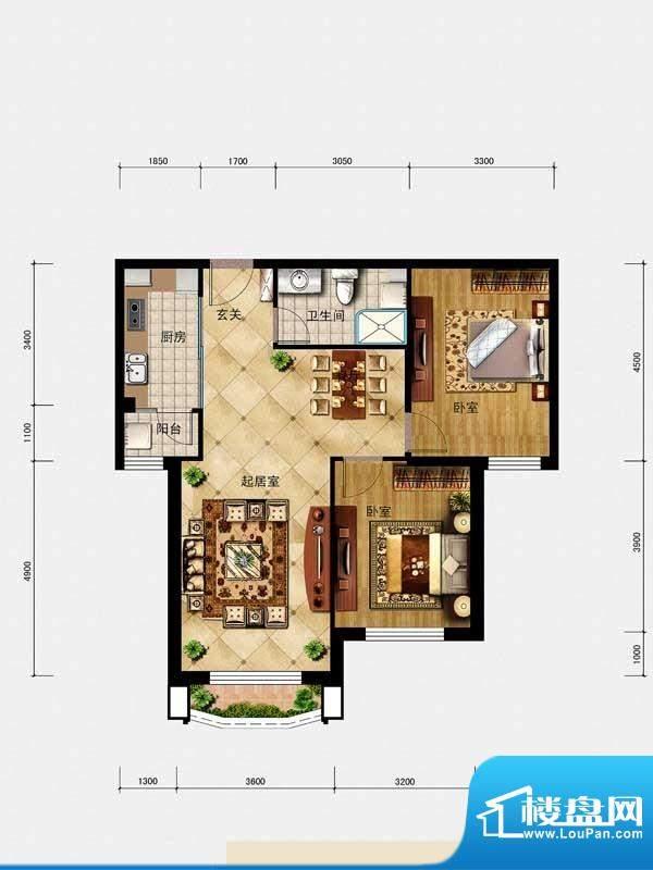 璟峯汇户型B1 3室2厅面积:92.00m平米