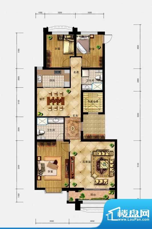 璟峯汇户型 A1 3室2面积:146.00m平米