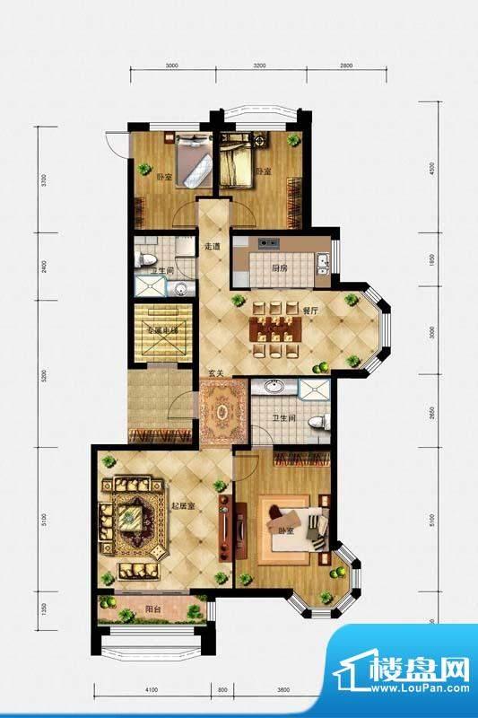 璟峯汇户型 A2 3室2面积:155.00m平米