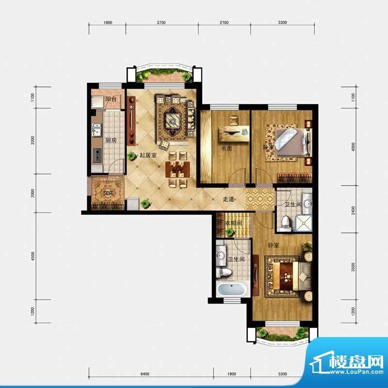 璟峯汇户型 B2 2室2面积:119.00m平米