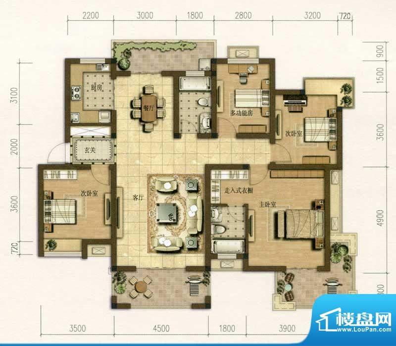 耀江花园E1户型图 4面积:145.00m平米