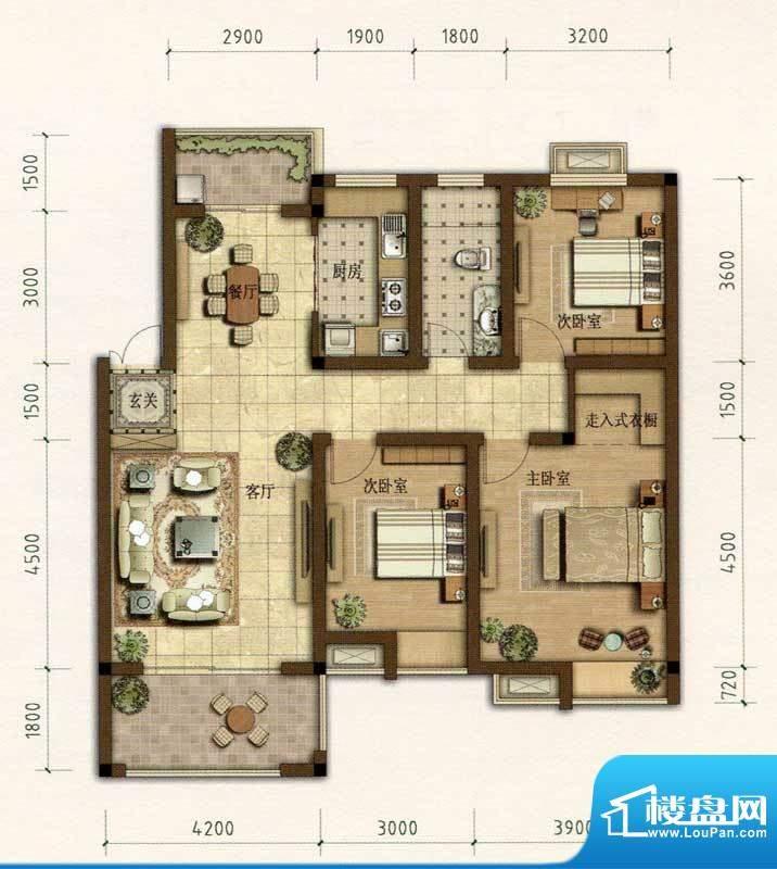 耀江花园B1户型图 3面积:116.00m平米