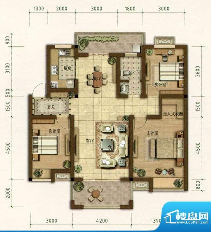 耀江花园B2户型图 3面积:116.00m平米