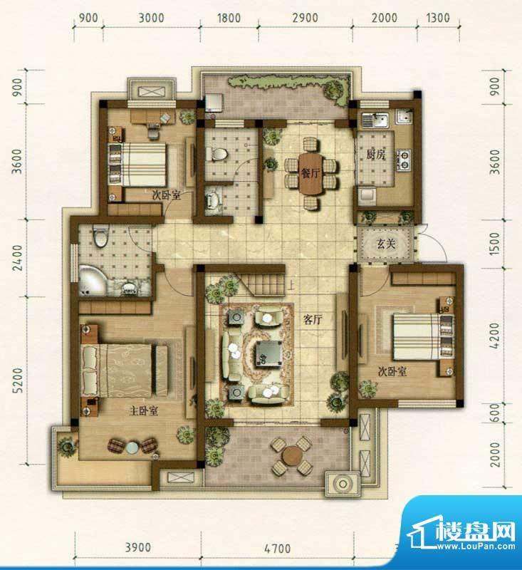 耀江花园C3户型图 3面积:127.00m平米