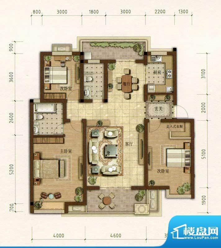 耀江花园D1户型图 3面积:134.00m平米