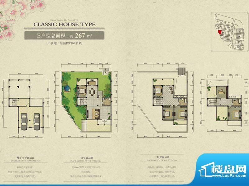 东方花园E户型 6室3面积:267.00m平米