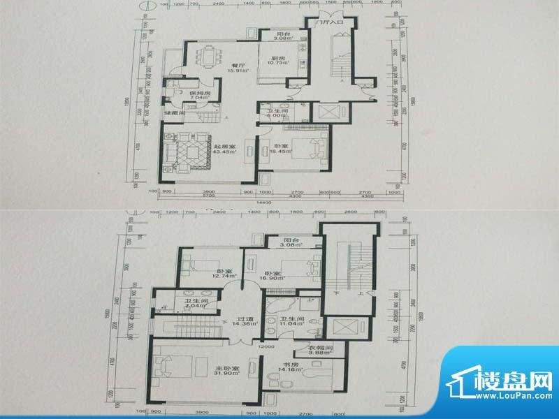 康和南岸户型图 5室面积:281.64m平米