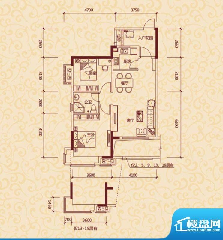 东方银座中心城御廷面积:85.00平米
