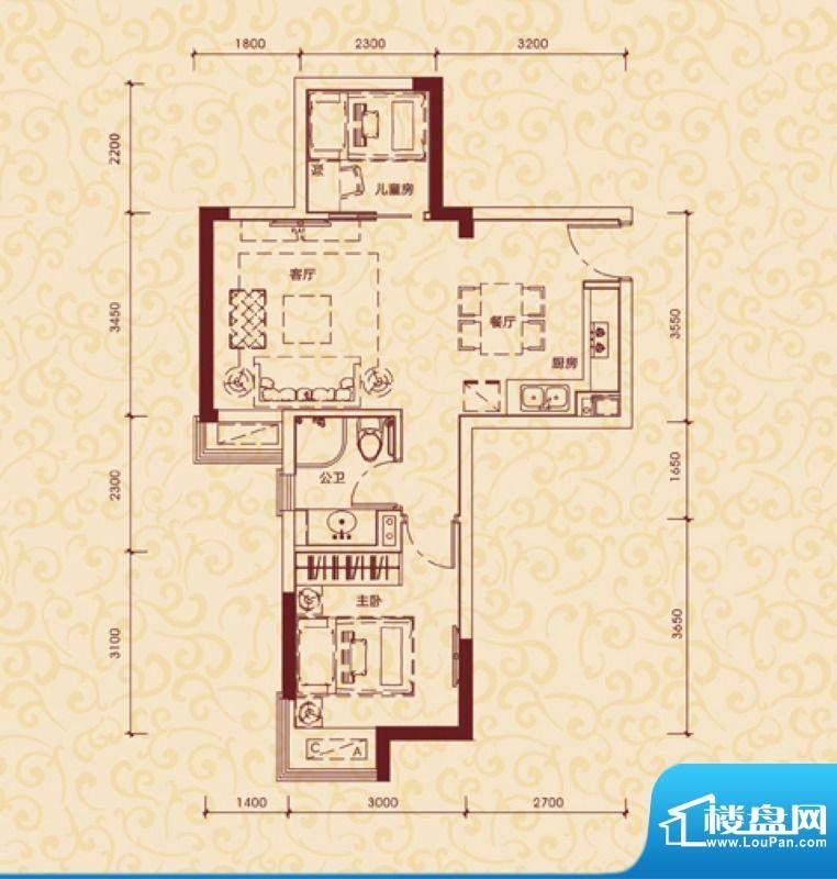 东方银座中心城御廷面积:60.00平米