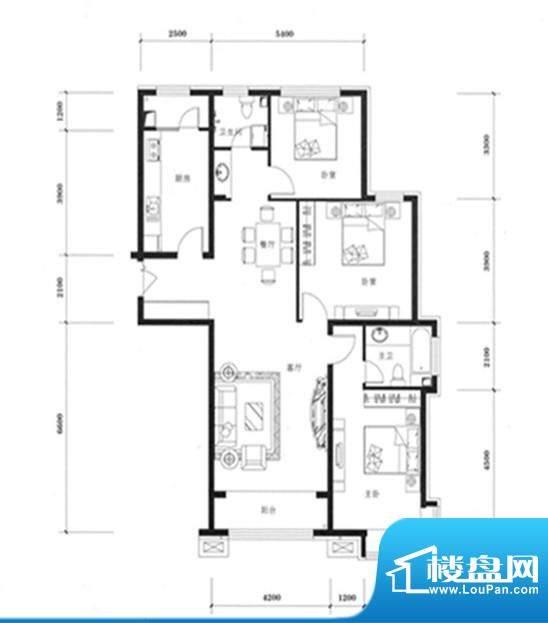 天佐奥城户型图3室面积:144.84m平米