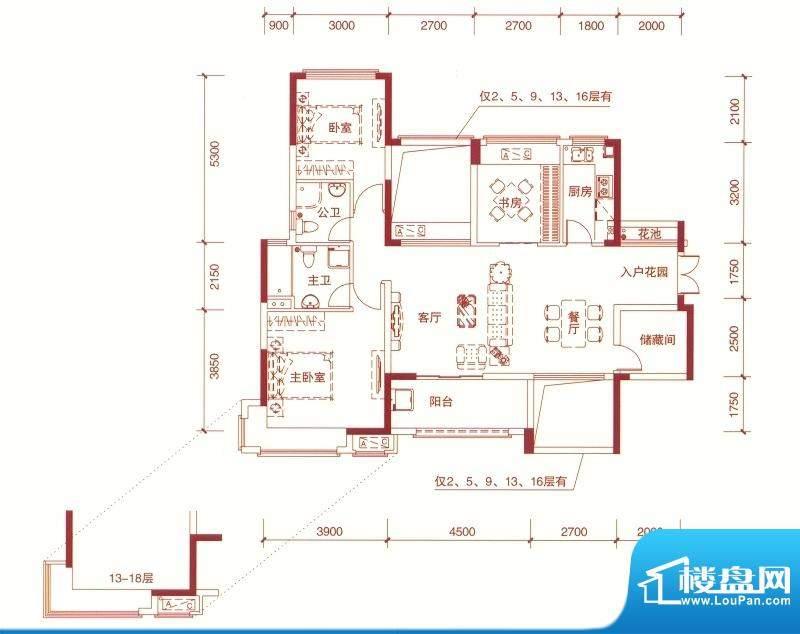 东方银座中心城御廷面积:119.00平米