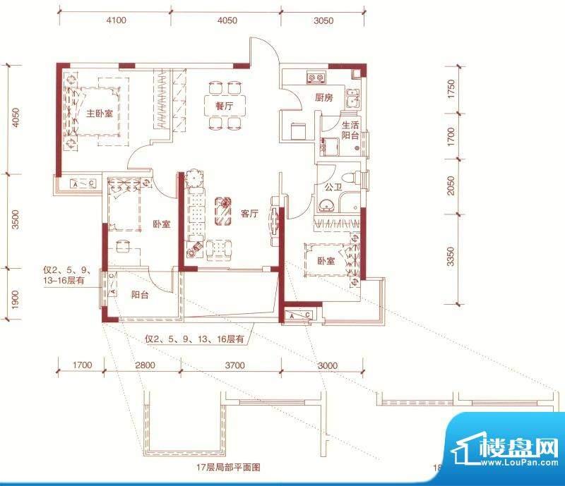 东方银座中心城御廷面积:99.00平米
