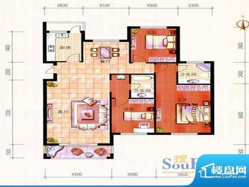 美珠花园L户型 3室2面积:160.00m平米