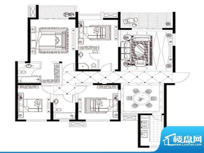 帝城国际户型图 3室面积:98.67m平米