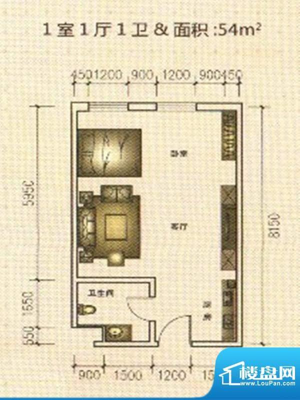 东凯万鸿户型图1 1室面积:54.00m平米