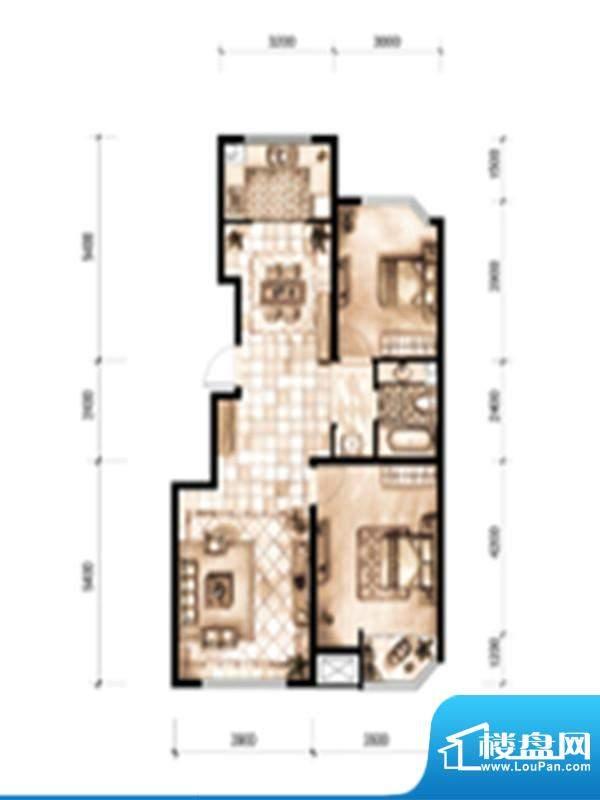 天誉丽景湾户型图1 面积:99.84m平米