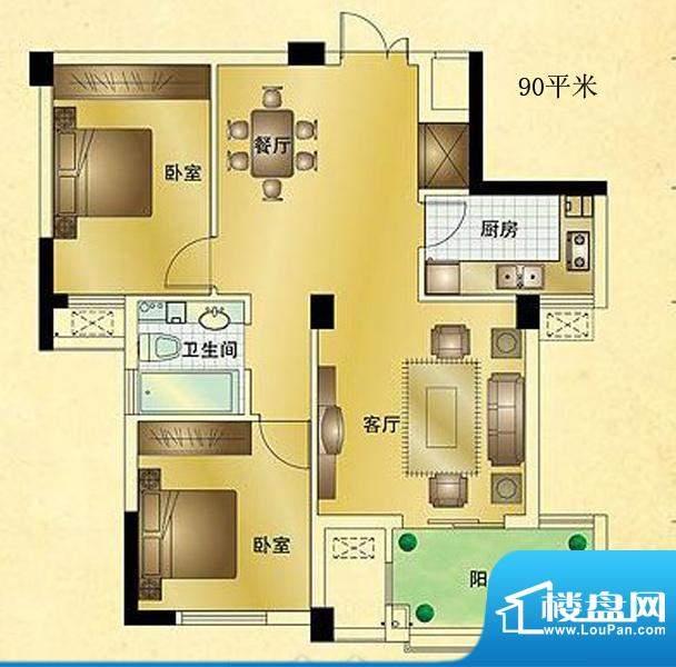 星汇半岛普通住宅B2面积:90.00m平米
